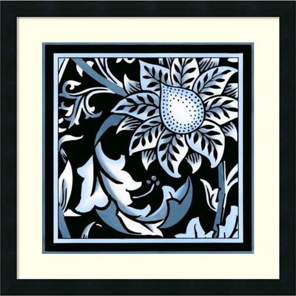 Vision Studio 'Blue & White Floral Motif II' Framed Art Print
