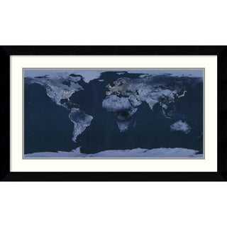 Goddard Space Center 'Satellite View of the World Showing Electric Lights and Usage' Framed Art Print