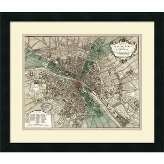 Vintage Reproduction 'Plan de Paris' Framed Art Print 21 x 18-inch