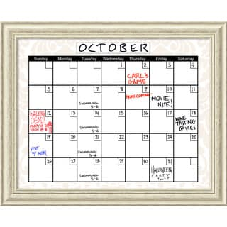 Beige Damask 32 x 26 Dry-Erase Calendar Message Board