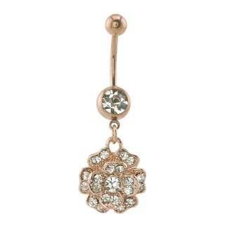 Supreme Jewelry Anodized Rose Goldplated Blossoming Flower Belly Ring