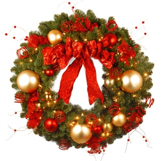36-inch Decorative Collection Cozy Christmas Wreath with 100 Clear Lights