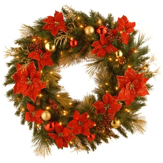 36-inch Decorative Collection Home Spun Wreath with 100 Clear Lights