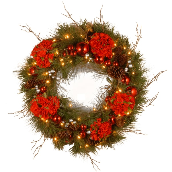 24-inch Decorative Collection Christmas Red Mixed Wreath with 50 Warm White LED Lights