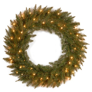 30-inch Dunhill Fir Wreath with 50 Clear Lights