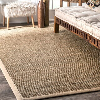 nuLOOM Handmade Natural Fiber Cotton Border Seagrass Rug (5' x 8')