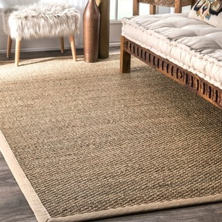 nuLOOM Handmade Natural Fiber Cotton Border Seagrass Beige Rug (9' x 12')