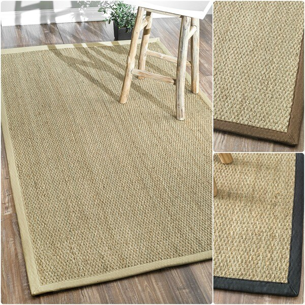 Nuloom Handmade Natural Fiber Cotton Border Seagrass Beige