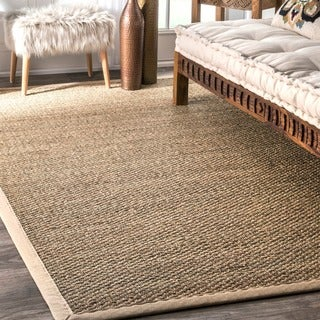 nuLOOM Handmade Natural Fiber Cotton Border Seagrass Beige Rug (6' x 9')