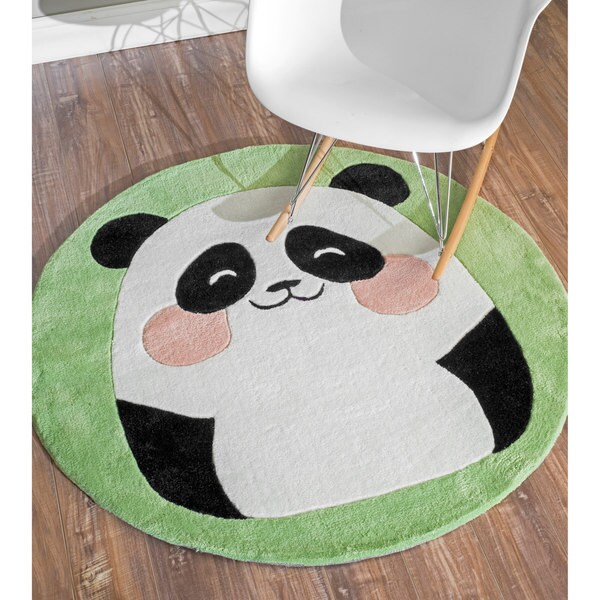 nuLOOM Hand-tufted Cute Panda Green Rug (4' Round)