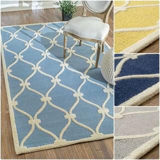 nuLOOM Hand-tufted Modern Trellis Wool Area Rug (7'6 x 9'6)