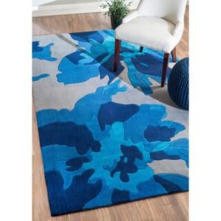 nuLOOM Hand-tufted Modern Floral Blue Rug (5' x 8')