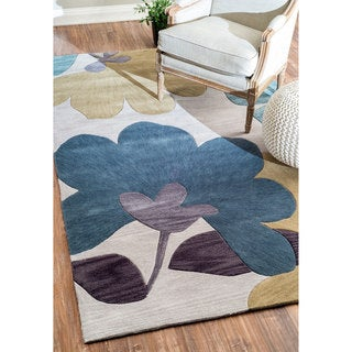 nuLOOM Hand-tufted Modern Floral Light Grey Rug (5' x 8')