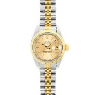 Pre-owned Rolex Women's 67193 Oyster Perpetual Two-tone Champagne Dial Watch