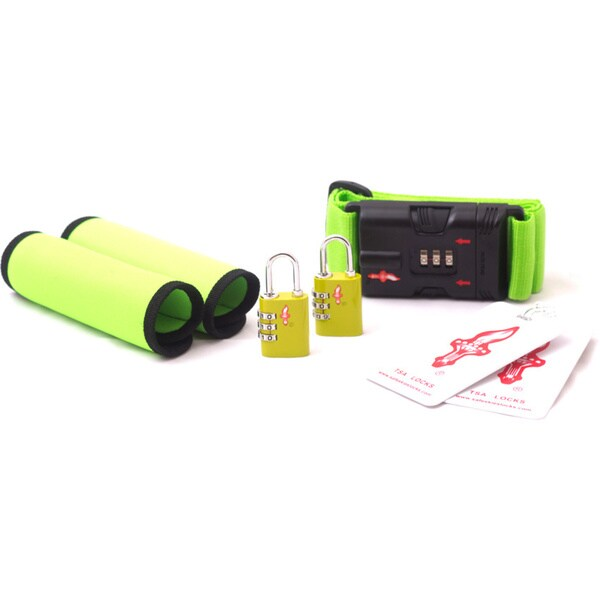 Safe Skies Green TSA Luggage Lock and Grip Set