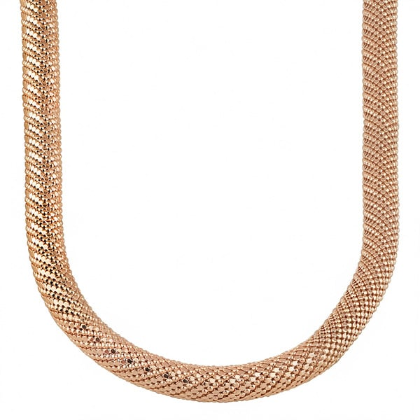 Oro Rosa 18k Rose Goldplated Bronze Tube Mesh Chain Necklace