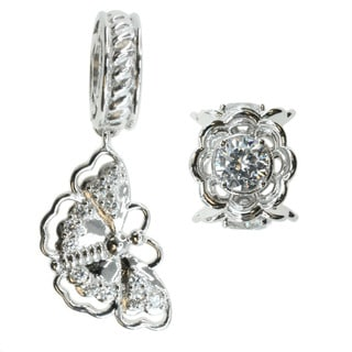 Michael Valitutti Sterling Silver and Cubic Zirconia 'Butterfly' and 'Flower' Bead Charm Set