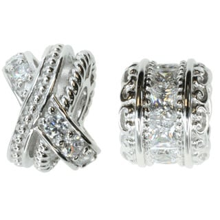 Michael Valitutti Sterling Silver and Cubic Zirconia Decorative Bead Charm Set