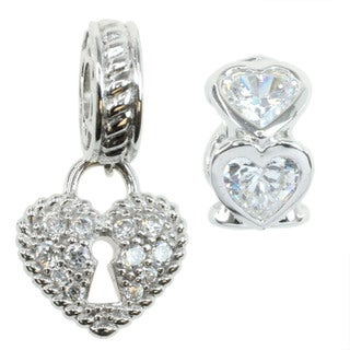 Michael Valitutti Sterling Silver and Cubic Zirconia Heart Charm Set