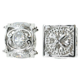 Michael Valitutti Sterling Silver and Cubic Zirconia Bead Charm Set