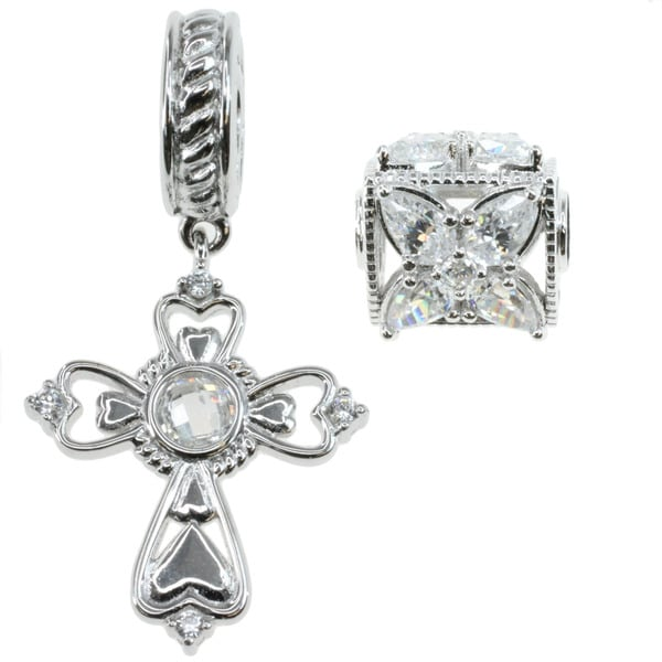 Michael Valitutti Sterling Silver And Cubic Zirconia 'Cross' and Decorative Spacer Bead Charm Set