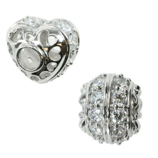 Michael Valitutti Sterling Silver Cubic Zirconia Double Row and Heart Charm Bead Set