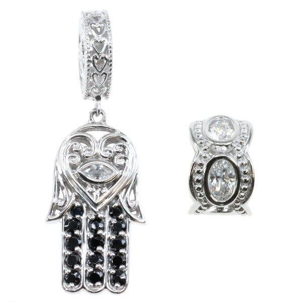 Michael Valitutti Sterling Silver Cubic Zirconia Hamsa Palm and Spacer Bead Charm Set