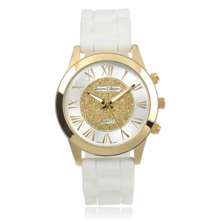 Journee Collection Round Face Quartz Roman Numeral Silicone Band Watch