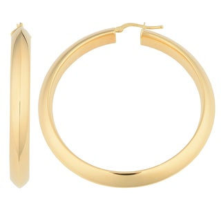 Oro Rosa 18k Yellow Goldplated Bronze Knife Edge Round Hoop Earrings