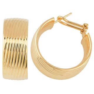 Oro Rosa 18k Yellow Goldplated Bronze Ripple Design Hoop Earrings