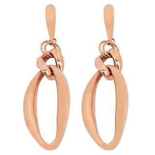 Oro Rosa 18k Rose Goldplated Bronze Elongated Drop Earrings