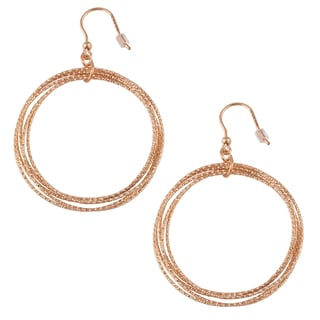 Oro Rosa 18k Rose Goldplated Bronze Diamond-cut Multiple Circles Dangle Earrings