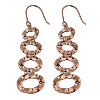 Oro Rosa 18k Chocolate Gold over Bronze Hammered Graduated Ovals Dangle Earrings