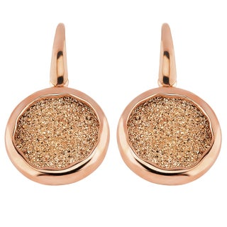 Oro Rosa 18k Rose Goldplated Bronze Round Druzy Dangle Earrings