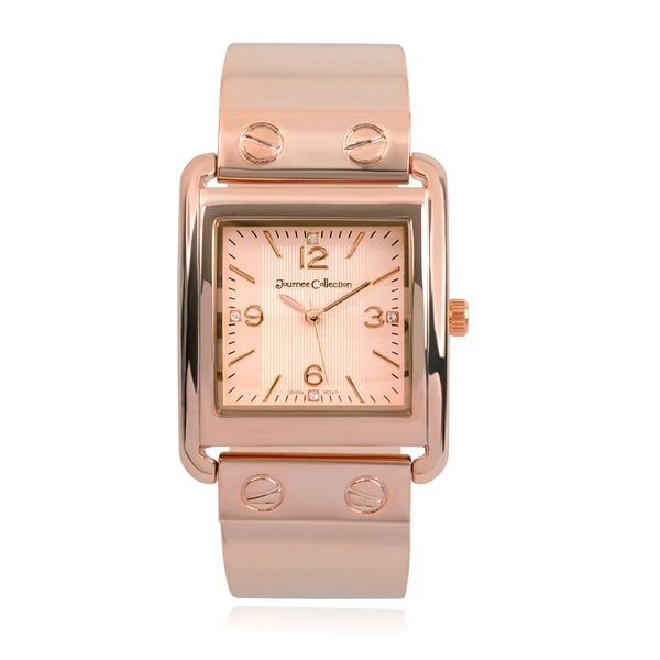 Journee Collection Rhinestone Square Face Link Watch