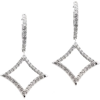 Auriya 14k White Gold 1/2ct TDW Diamond Drop Hoop Earrings (H-I, I1-I2)