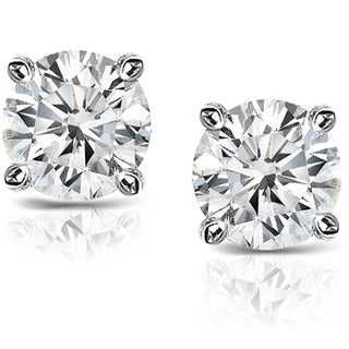 Auriya Platinum 1 1/2ct TDW Hearts and Arrows Diamond Stud Earrings (H-I, SI1-SI2)