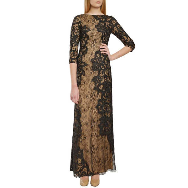Tadashi Shoji Black Nude Asymmetric Lace 3/4 Sleeve Formal Evening Gown Dress