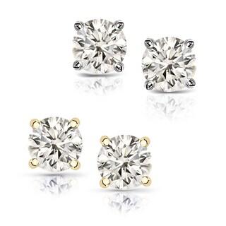 Auriya 14k Gold 1 1/2ct TDW Round Diamond Stud Earrings (J-K, I2-I3)