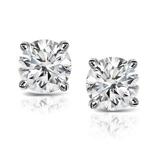 Auriya Platinum 1ct TDW Hearts and Arrows Diamond Stud Earrings (J-K, SI1-SI2)