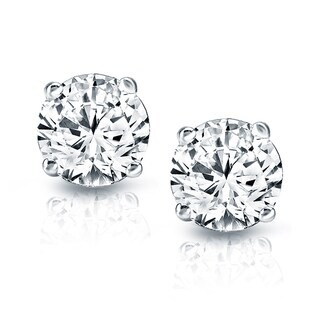Auriya Platinum 1 1/2ct TDW Hearts and Arrows Diamond Stud Earrings (J-K, SI1-SI2)