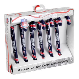 Forever Collectibles New England Patriots NFL Candy Cane Ornament Set