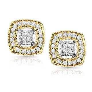 Auriya 14K Two-tone Gold 1/5ct TDW Diamond Earrings (H-I, I1-I2)