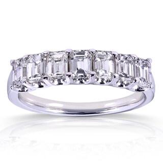 Annello 14k White 1 3/4ct TDW Emerald-cut Diamond Band (G-H, SI1-SI2)