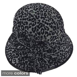 Swan Hat Women's Leopard Velvet Covered Hat