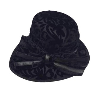 Swan Hat Women's Embossed Black Velvet Hat