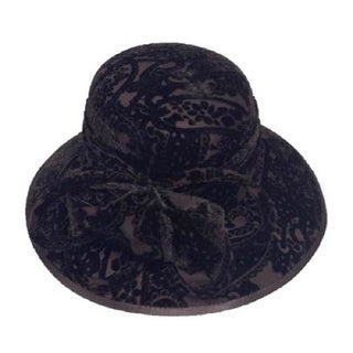 Swan Hat Women's Desing Embossed Brown Velvet Covered Hat