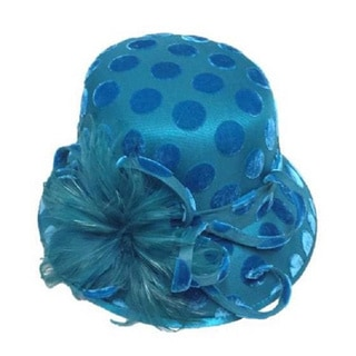 Swan Hat Women's Desing Polka-Dot Velvet Covered Teal Blue Hat