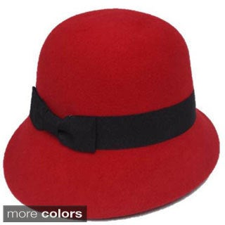 Swan Hat Women's Grosgrain Ribbon Band Cloche Red Hat