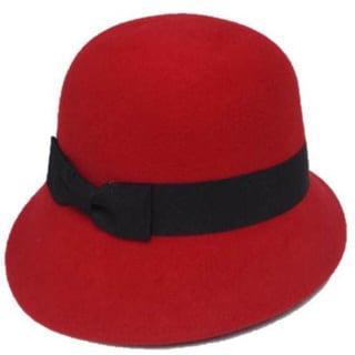 Swan Hat Women's Grosgrain Ribbon Band Cloche Red Hat